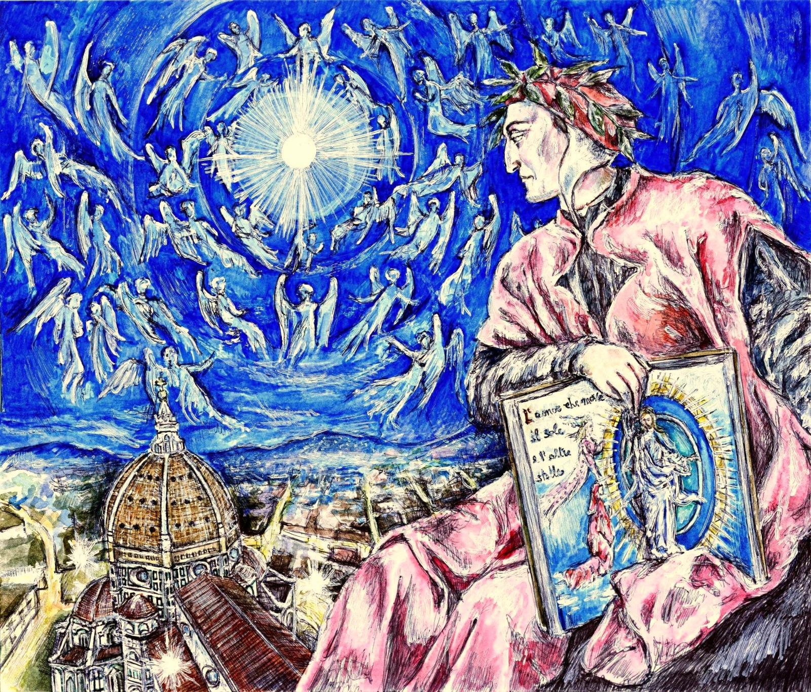 """Illustrazione: """"Apoteosi di Dante Alighieri a Firenze: l'Amor che move il sole e l'altre stelle"""", grattage su graphia dell'artista Giovanni Guida, 2020."""
